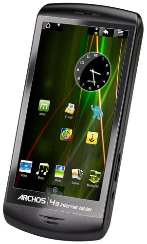 L'Archos 43 est un PMP avec écran tactile de 4,3 pouces, tournant sous Android 2.2 et supportant la majorité des formats audio et vidéo (sous réserves de certains plugins). Il possède le Wifi et un port HDMI. Le modèle 16go est disponible en précommande chez Amazon au prix de 199,99€.